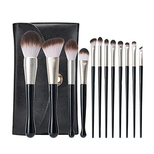 YZ-MS Pinceau De Maquillage Facial Portable 12Pcs avec Tube en Aluminium Givré À Poils Doux Et Tige De Brosse en Forme De Goutte d'eau