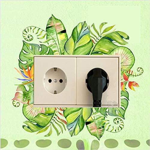 whmyz Etiqueta engomada Decorativa del Interruptor de la habitación del PVC del diseño clásico de la Pintura de Las Flores Frescas Verdes Lindas