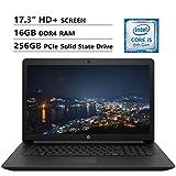 HP Notebook 17.3' HD+ Screen Laptop. Intel Core i5-8265U Up to 3.9GHz, 16GB DDR4 RAM, 256GB PCIe Solid State Drive, Wi-Fi+Bluetooth Combo, HDMI, USB 3.0, RJ-45, DVD-RW, Windows 10, Black