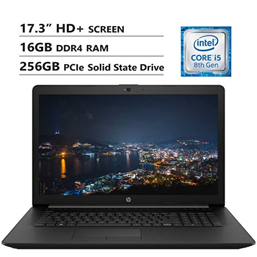HP Notebook 17.3' HD+ Screen Laptop. Intel Core i5-8265U Up to 3.9GHz, 16GB DDR4 RAM, 256GB PCIe Solid State Drive, Wi-Fi+Bluetooth Combo, HDMI, USB 3.0, RJ-45, DVD-RW, Windows 10, Black