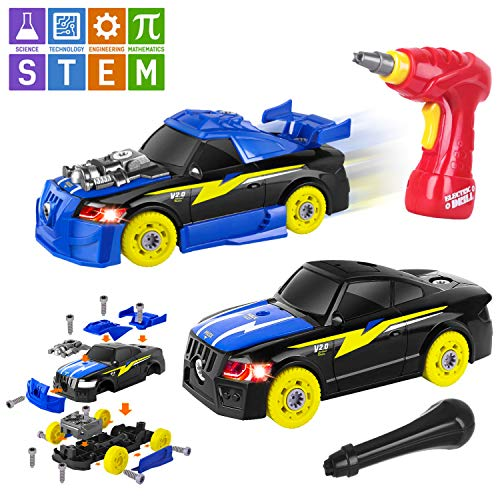AOKESI Racing Car Toys Building Kit Take Apart Car,Put Together Car Toy with Drill Tool for 3.4.5 Years Old Boys Girls , Lights and Sounds STEM Gifts for Kids (26 Pieces)
