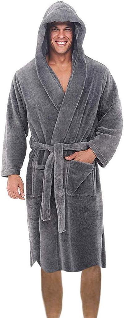 HGWXX7 Bathrobe Award-winning store for Men Los Angeles Mall Solid Winter Sleeve Warm Long Hoode Soft