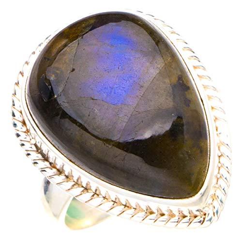 StarGems Anillo de plata de ley 925 hecho a mano con labradorita azul natural N D4263