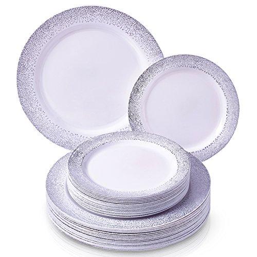 Wegwerp bijzettafel van kunststof. 20 Servings zilver