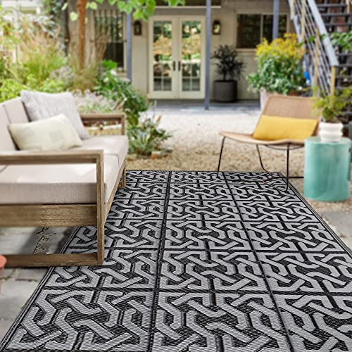 SAND MINE Reversible Mats, Plastic Straw Rug, Modern Area Rug, Large Floor Mat and Rug for Outdoors, RV, Patio, Backyard, Deck, Picnic, Beach, Trailer, Camping (5' x 8', Black & Grey)