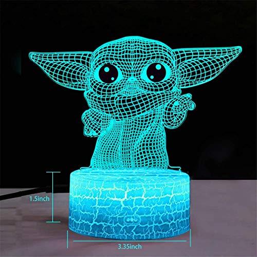 Lámpara LED inteligente para mesita de noche con Bluetooth, 3D, lámpara de ilusión LED, luz nocturna de Star Wars, figura de Yoda para niños, decoración de mesa para bebés, mini Yoda (A)