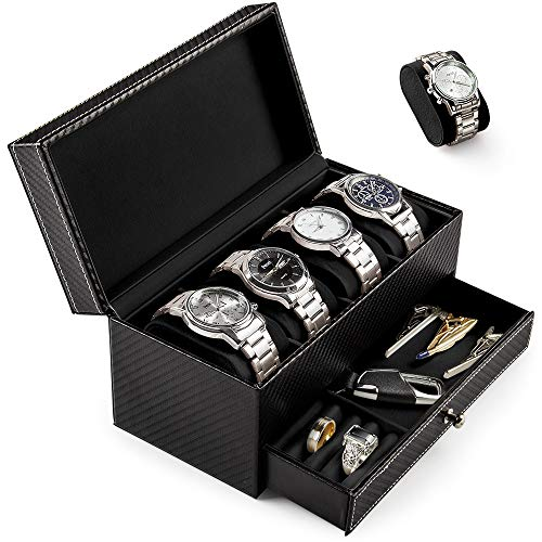 Uhrenbox Uhrenkoffer Uhrenkasten Aufbewahrungsbox PU-Leder Zwei Schichte Uhrenbox für 4 Uhren Eleganter Speicher auch für Schmuck oder Armbandkollektion usw - ideal als Geschenk (Schwarz-X01)