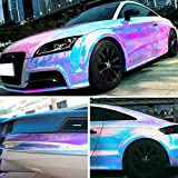 "XhuangTech Holographic Rainbow Neo Chrome Car Vinyl Wrap Gloss Air Bubble Free Adhesive Decal Sticker Film Sheet DIY (White, 53"" x 11.8"" (135CM x 30CM))"
