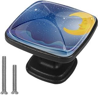 Sleeping Moon - Juego de 4 pomos para cajón de mueble con mango de cajón para aparador armarios estanterías
