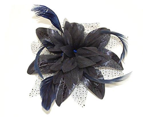(Navy Blue) - Bride Boutique Wedding Races Prom Feather & Net Flower Design Hair Comb Fascinator (Navy Blue)