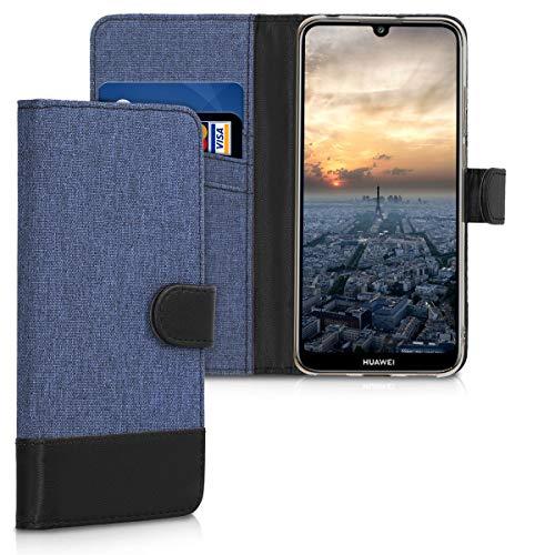 Preisvergleich Produktbild kwmobile Hülle kompatibel mit Huawei Y6 (2019) - Kunstleder Wallet Case mit Kartenfächern Stand in Dunkelblau Schwarz