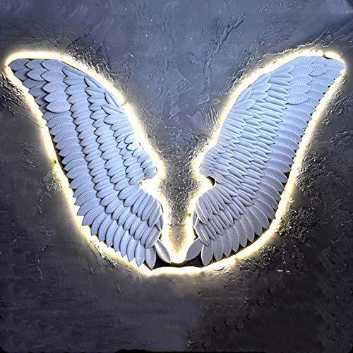 FMXYMC Decoración de Pared de Metal de alas Grandes con Tira de luz LED, decoración Colgante de alas de ángel Brillantes, esculturas de Arte de Pared de fotografía Creativa,Blanco,110x100cm