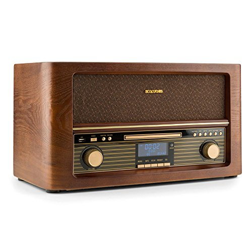 AUNA Belle Epoque 1906 - Equipo estéreo, Minicadena Retro, Dab+, Radio Digital, Bluetooth, Reproductor de CD, MP3, USB, RDS, Digitalizador, Diseño Vintage, Madera, Marrón