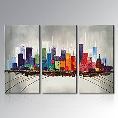 Everfun Hand Painted Cityscape Extra Large Colorful City Oil Paintings on Canvas Wall Art Huge Handmade Building Artwork Ready to Hang Decor for Living Room 72  Wx48 H