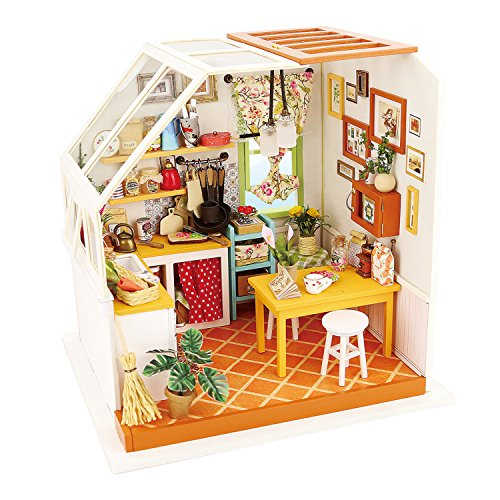 ROBOTIME Miniature 3d Model Kitchen Kits to Build Craft Construction DIY Dolls House with Furniture and Accessories Mini Room Creativity Toys for Girls and Boys