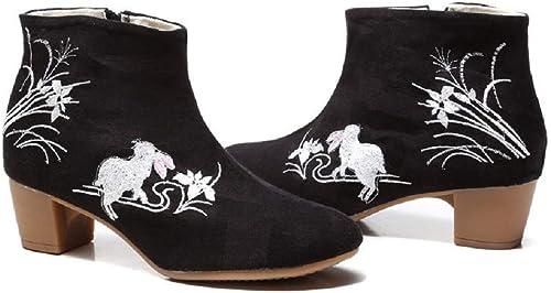 ZHRUI Stiefel de Flores de damen con Cremallera schuhe de Bordado de Cremallera (Farbe   schwarz, tamaño   EU 39)