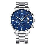 Relojes Hombre Cronógrafo Reloj de Pulsera Calendario con Correa de Acero Inoxidable Elegante, Plateado-Azul