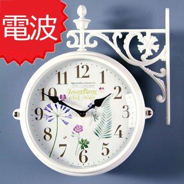 両面電波時計 両面時計 Interior Double Face Wall Clock おしゃれな インテリア 両面壁掛け時計 電波両面時計 M195 Wh-F10
