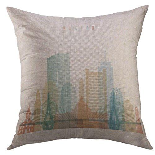 Hunter qiang Funda de almohada decorativa para sofá, cama, decoración del hogar, puente, Boston Massachusetts City Skyline, estilo silueta, funda de almohada de construcción, 18 pulgadas x 18 pulgadas