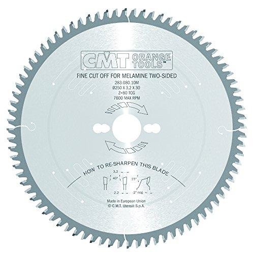 CMT Orange Tools 283.080.10M Lame de scie circulaire silencieuse Z 80 ATB 40 dents 250 x 3,2 x 30 mm