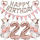 Ouceanwin 22 Ans Anniversaire Décorations Or Rose Ballons Deco Anniversaire pour Filles, Guirlande Happy Birthday Ballons, Géants Ballons Numéro 22, Ballons Confettis Rose Or Fournitures de Fête Kit