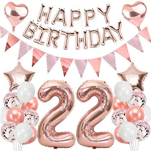 Ouceanwin 22. Geburtstag Dekoration Rosegold Geburtstag Partydeko Set, Riesen Luftballon Zahl 22, Helium Ballons Happy Birthday Girlande, Wimpelkette Banner, 22th Geburtstagsdeko für Mädchen Damen