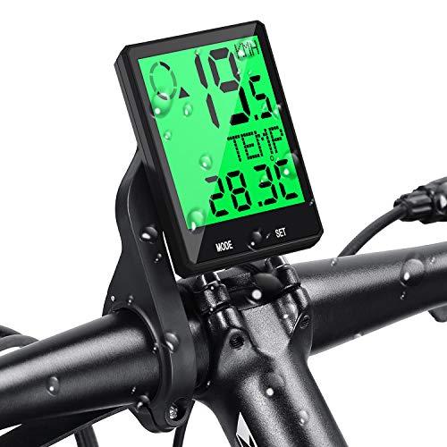 Contachilometri Bici Senza Fili, 6 Lingue Tachimetro Bici Impermeabile Display LCD Retroilluminato, Multifunzione Computer da Bicicletta con Distanza di Tracciamento, Velocità, Temperatura Prumya