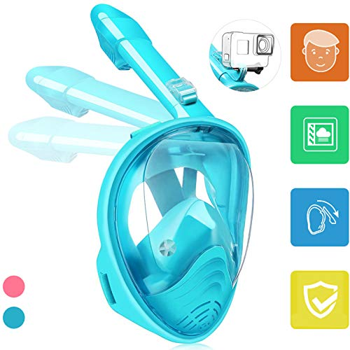 Hieha Full Face Snorkel Mask for Kids - 2020 Newly Released Anti-Fogging Anti-Leak Snorkeling Set with Detachable Camera Mount & Dive Mask Safety Breathing System Dry Top Set Foldable Diving