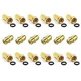 VCE F Verbinder und F Stecker 7mm Vergoldet mit Gummidichtung breite Mutter Sat Adapter für Antennenkabel Koalxial