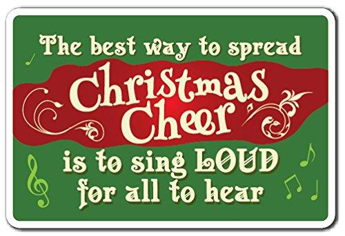 "CHRISTMAS CHEER Sign christmas song season holiday merry carol | Indoor/Outdoor | 17"" Tall Plastic Sign"