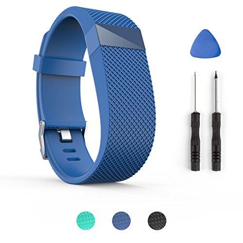 Tosenpo - Correa de repuesto para pulsera inteligente Fitbit Charge HR, color Blue-L