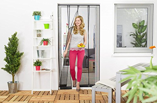 empasa Insektenschutz Lamellenvorhang für Türen Türvorhang Polyester 100 x 220 cm Schwarz