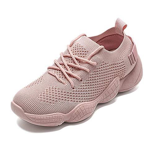 Zapatillas de Running de Punto Mujeres Air Mesh Zapatillas de Deporte Transpirables Superiores Señoras con Cordones Zapatillas Deportivas Planas Suaves Calzado de Fitness al Aire Libre