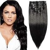 Clip in Extensions Echthaar Haarverlängerungen Haarteil Doppelt 8 Tressen hitzebeständig glatt Schwarz#1 10'(25cm)-110g