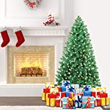 SHareconn 4.5 ft Pre-Lit Premium Artificial Spruce Hinged Christmas Tree with 180 Clear Lights,...