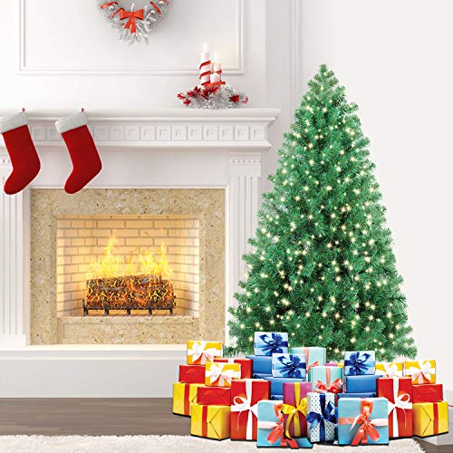 SHareconn 4.5 ft Pre-Lit Premium Artificial Spruce Hinged Christmas Tree with 180 Clear Lights, 600 Branch Tips and Metal Stand