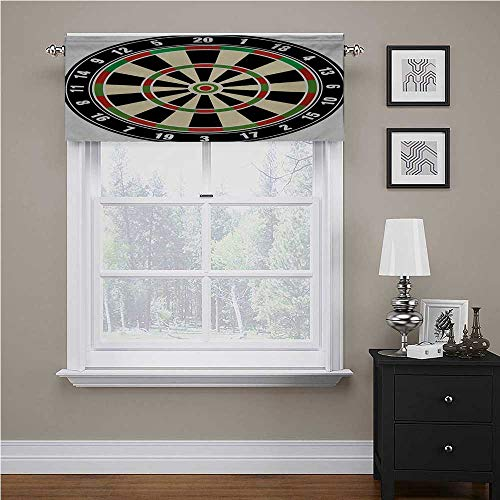 "Interestlee Sports Print Valance Dart Board Numbers Sports Accuracy Precision Target Leisure Time Graphic for Small/Kitchen/Bathroom Window Vermilion Green Black, 42"" x 18"""
