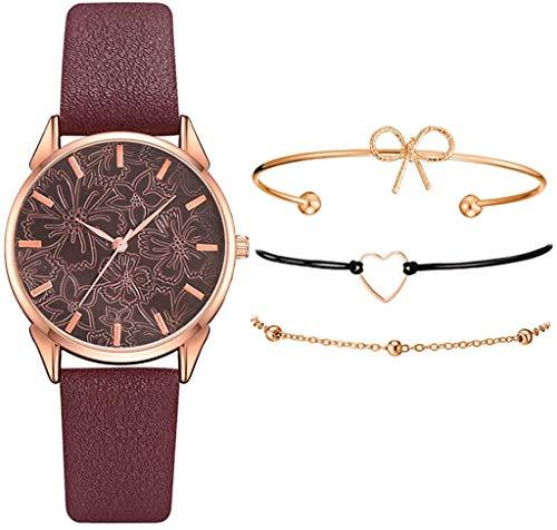 Sets de Reloj y Pulsera Mujer Casual Moda Relojes de Cuarzo para Mujer Adolescentes Chica Regalo de San Valentín para Amante,Relojes 1PC y Pulsera 3PC (Rojo)