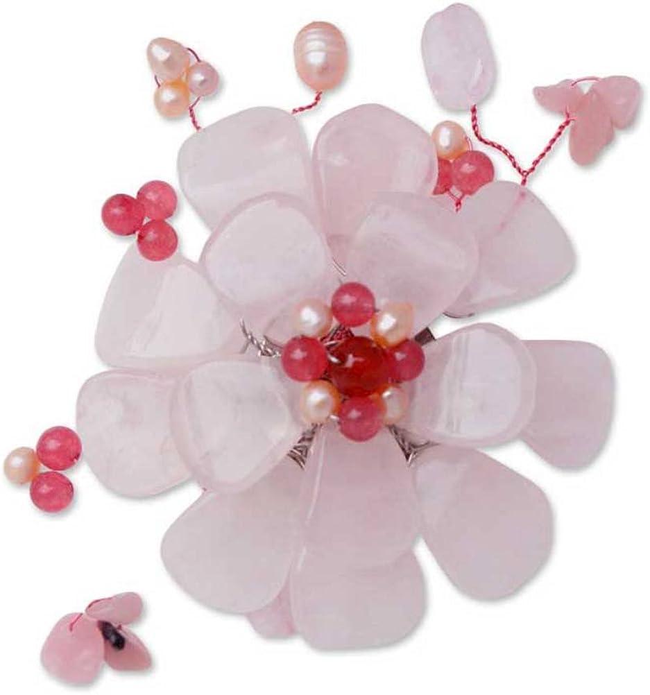 NOVICA Multi-Gem Rose Quartz Cultured Freshwater Pearls Brooch 'Apple Blossom'