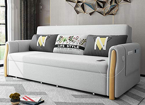 Futon Couch, Loveseat Sofa Bed,Convertible Folding Sofa, Pull Out Couch Modern Multifunctional Storage Living Room Sleeper Sofa Furniture, with Detachable Armrests,Washable,light gray,1.8M