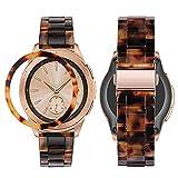 HeamptCorreaconBezelStylingparaSamsung Galaxy Watch 42mm /Gear Sport,ResinaCorreaconBiselAnilloCubrirAnti-rasguñosProteccion(Carey)
