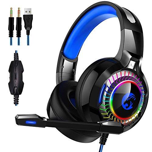 GANE Auriculares para Juegos con Controladores de 50 mm, Auriculares para Juegos para Xbox para PS4 Nintendo PC Mac Estéreo Envolvente con micrófono con cancelación de Ruido y Canal Luminoso 7.1