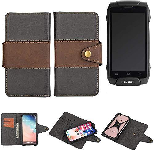 K-S-Trade® Handy-Hülle Schutz-Hülle Bookstyle Wallet-Case Für Cyrus CS 30 Bumper R&umschutz Schwarz-braun 1x