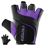 Contraband Pink Label 5137 Women's Padded Weight Lifting and Rowing Gloves w/ Grip-Lock Padding (Pair) - Machine Washable Fingerless Workout Gloves Designed Specifically for Women (Purple, Medium)