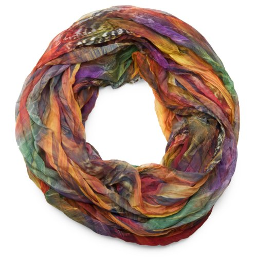 styleBREAKER Feder Muster Batik Style Loop Schlauchschal/Crash and Crinkle/seidig leicht 01016064, V2, Farbe:Bunt