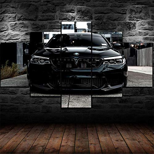 IKDBMUE 5-Teilig auf Leinwand,Schwarzes BMW M5 Super Car Bilder fertig gerahmt mit Keilrahmen, Kunstdruck auf Wandbild mit Rahmen