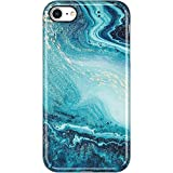 VIVIBIN iPhone SE 2020 Case,iPhone 8 Case,iPhone 7 Case,Opal Marble in Teal Blue,Clear Bumper Soft TPU Cover Slim Fit Protective Phone Case for iPhone 7/iPhone 8/New iPhone SE