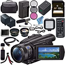 Sony FDR-AX700 4K Camcorder FDR-AX700/B + NP-FV70 Replacement Lithium Ion Battery + External Rapid Charger + 128GB SDXC Card + 62mm 3 Piece Filter Kit + LED Light + Condenser Mic Bundle