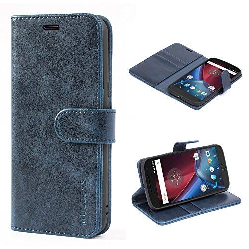Mulbess Funda Motorola Moto G4 Plus [Libro Caso Cubierta] [Vintage de Billetera Cuero de la PU] con Tapa Magnética Carcasa para Motorola Moto G4 / G4 Plus Case, Azul Marino