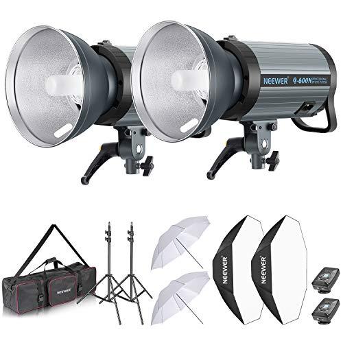 Neewer 1200W Estudio Flash Estroboscópico Kit Iluminación: (2) 600W Monoluz con 2,4G Disparador Inalámbrico (2) Pantalla (2) Softbox (2) Paraguas (2) Soporte de Luz (1) Bolsa(Q600N)